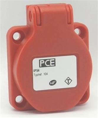 Embase femelle NF 16A rouge IP54 16A - Fixation 38x38